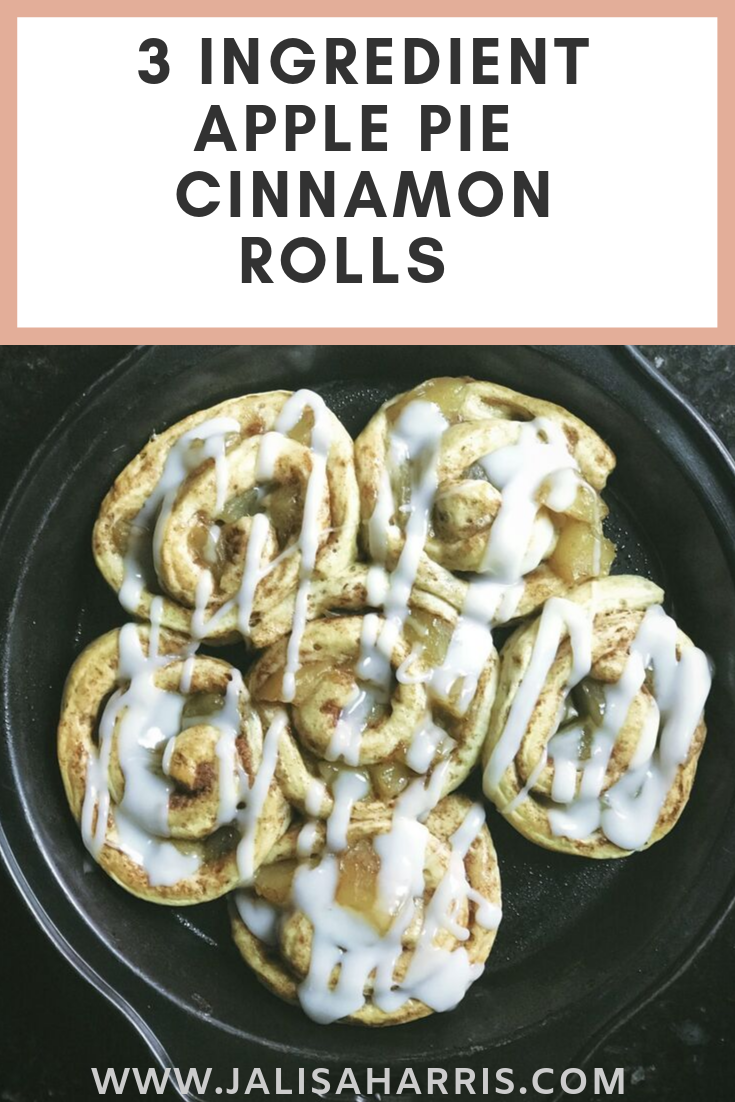 These Apple Pie Cinnamon Rolls are super easy to make and only need 3 ingredients. They are perfect for this Fall and upcoming holiday season. Cinnamon rolls rolled up with apple pie and iced to perfection.